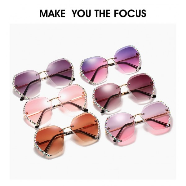 Rimless Diamond-Studded Polygonal Gradient Color Sunglasses