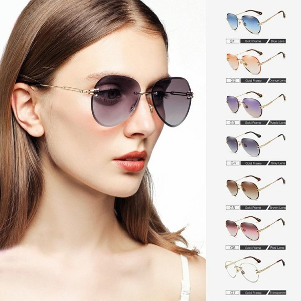 2021 fashion rimless gradient sunglasses