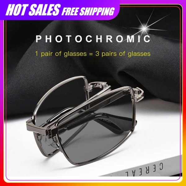 Black Folding Transition Progressive Multifunctional Reading Glasses