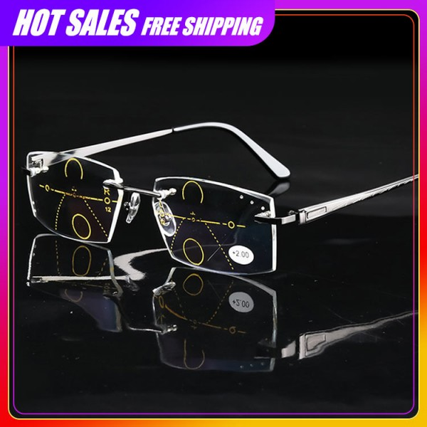 2021 fashionable diamond-cut progressive men reading glasses