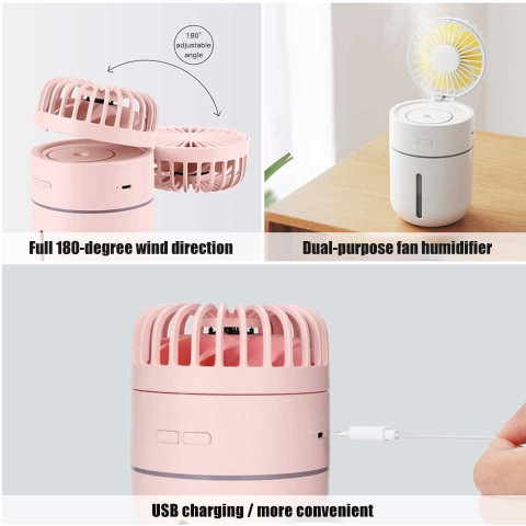 Big belly desk humidification Fan USB charging humidification small fan