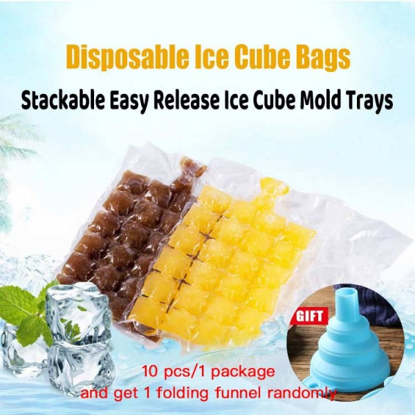10 Bags 240 Ice Cubes Disposable Ice Cub..