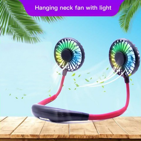 Aromatic neckband fan with light