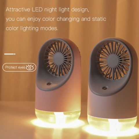 Multifunctional humidifying fan USB mini spray fan with LED night light